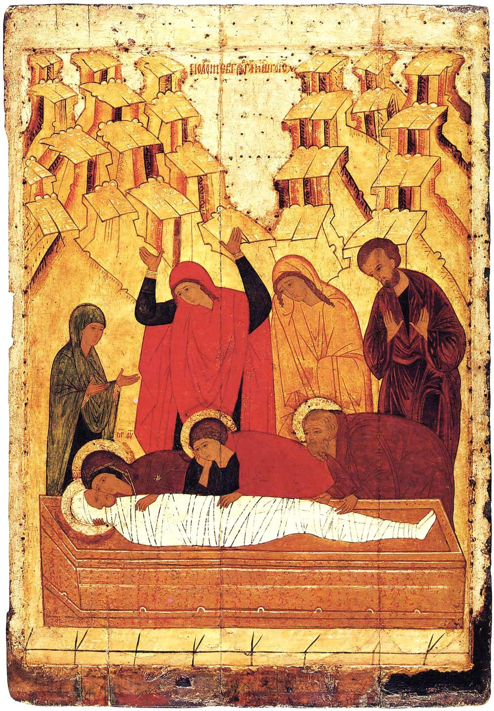 Полагање у гроб, XV век, Ростовска икона. Музеј Старе руске уметности