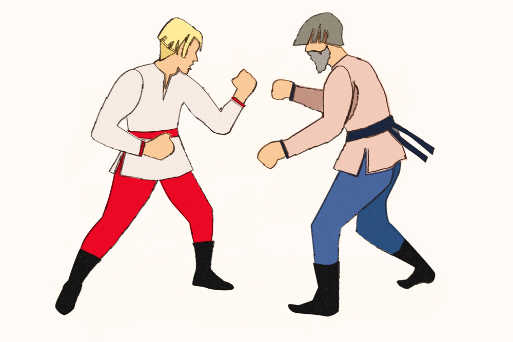 "Hand-to-hand, or ""one-on-one"" fights were similar to modern-day boxing matches. Combatants had to remain on their feet at all times, and fighting on the ground was forbidden. Source: Alena Repkina"