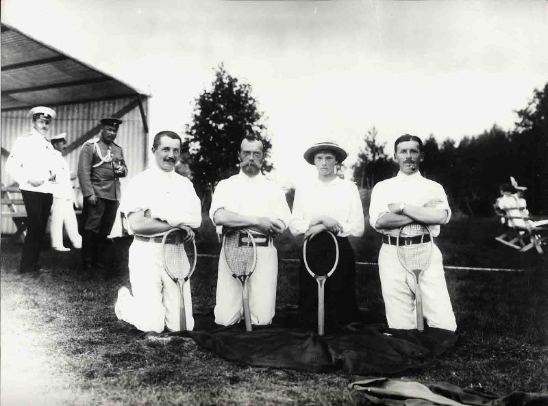 Russian Tsar Nicolas II with the Grand Duchess Tatiana Nikolaevna and courtiers after tennis