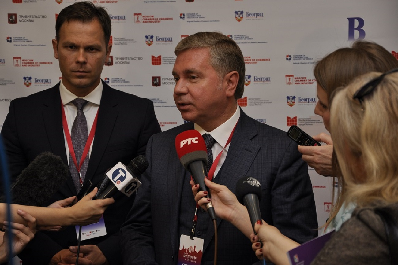 Градоначелник Београда Синиша Мали и министар градске владе Москве Сергеј Черјомин.