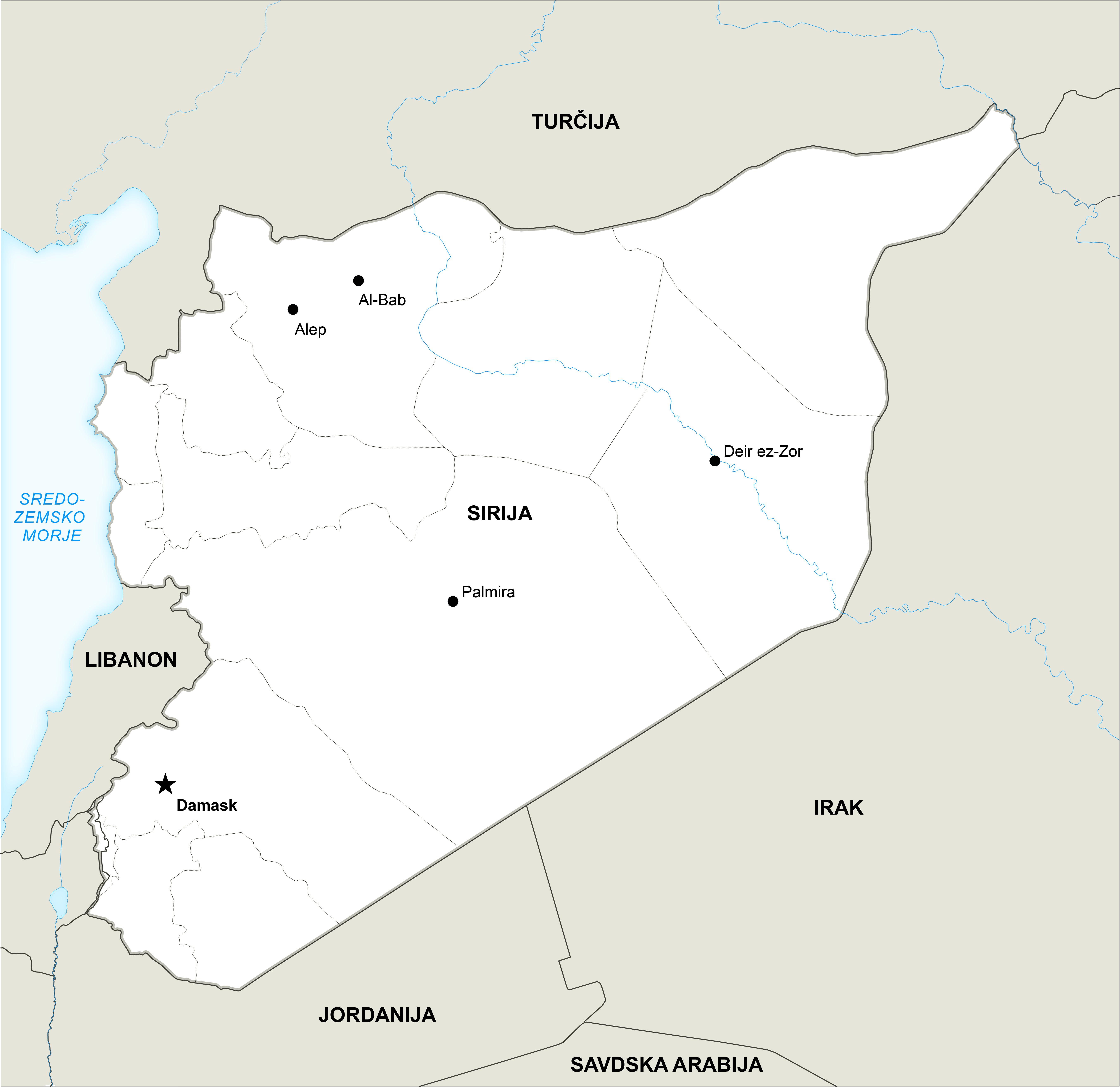 Čeprav je ISIS v zadnjem času dosegel nekaj uspehov v Palmiri in Deir ez-Zoru, je teroristična skupina v resnici v težkem položaju in se srdito bori za svoje preživetje. Njihovi pripadniki sedaj napadajo mesto Deir ez-Zor, ki je zadnja enklava pod nadzorom vlade v vzhodnem delu države. Na sliki: zemljevid Sirije. Vir: Onetopmap/RBTH