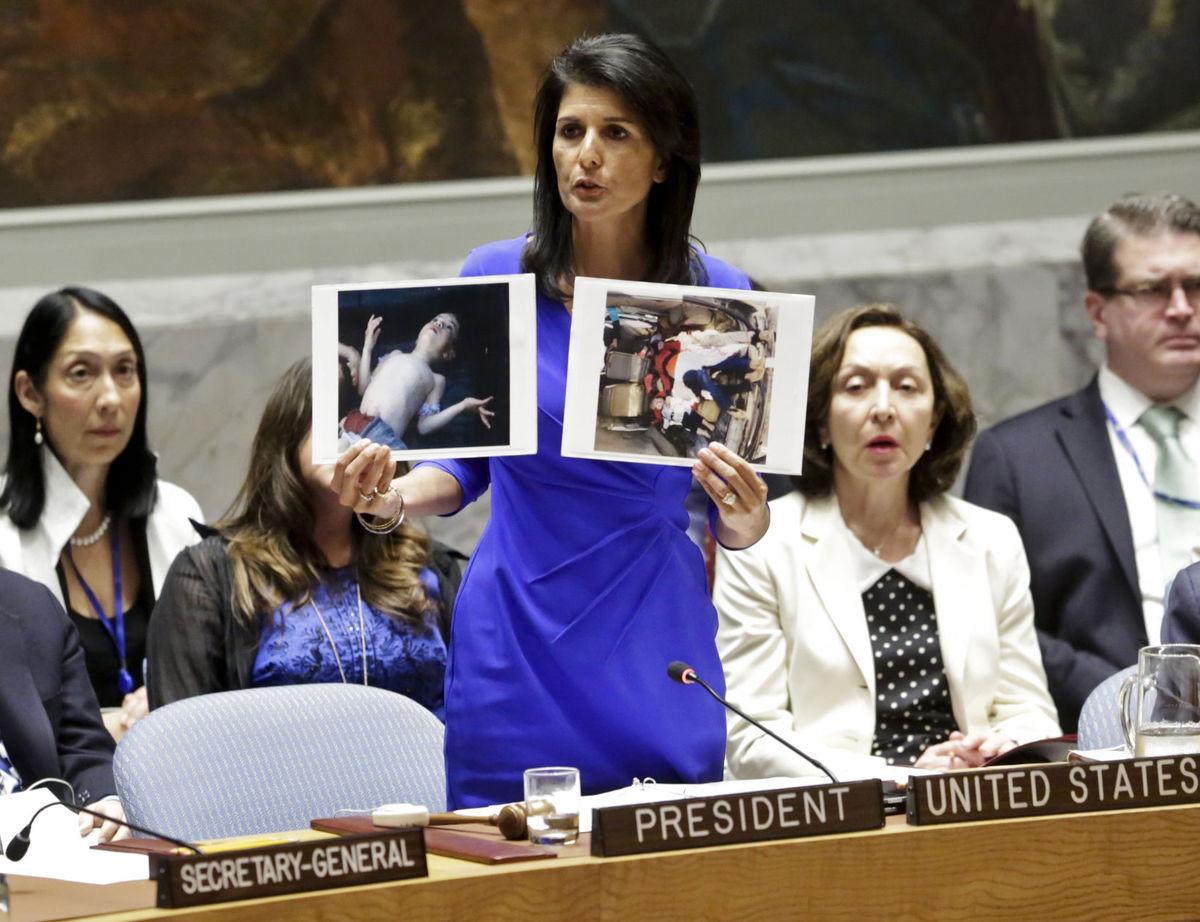Ameriška veleposlanica pri OZN med včerajšnjim nastopom v VS OZN.