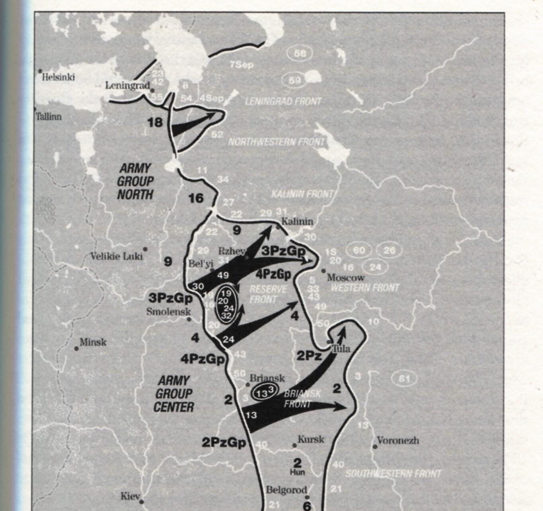Prikaz nemške operacije Tajfun in nemškega napredovanja proti Moskvi med oktobrom in decembrom 1941.  Vir: David M. Glantz and Jonathan M. House, When titans clashed