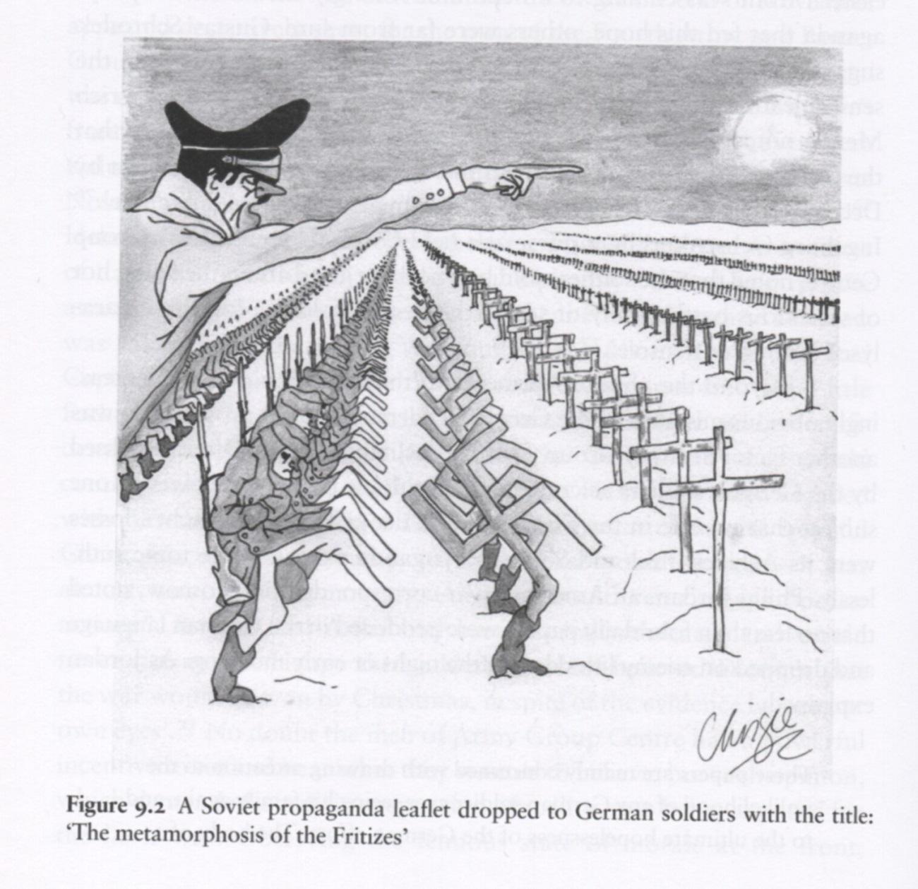 Sovjetska karikatura prikazuje korakanje nemških vojakov proti Moskvi. Vir: David Stahel, The battle for Moscow