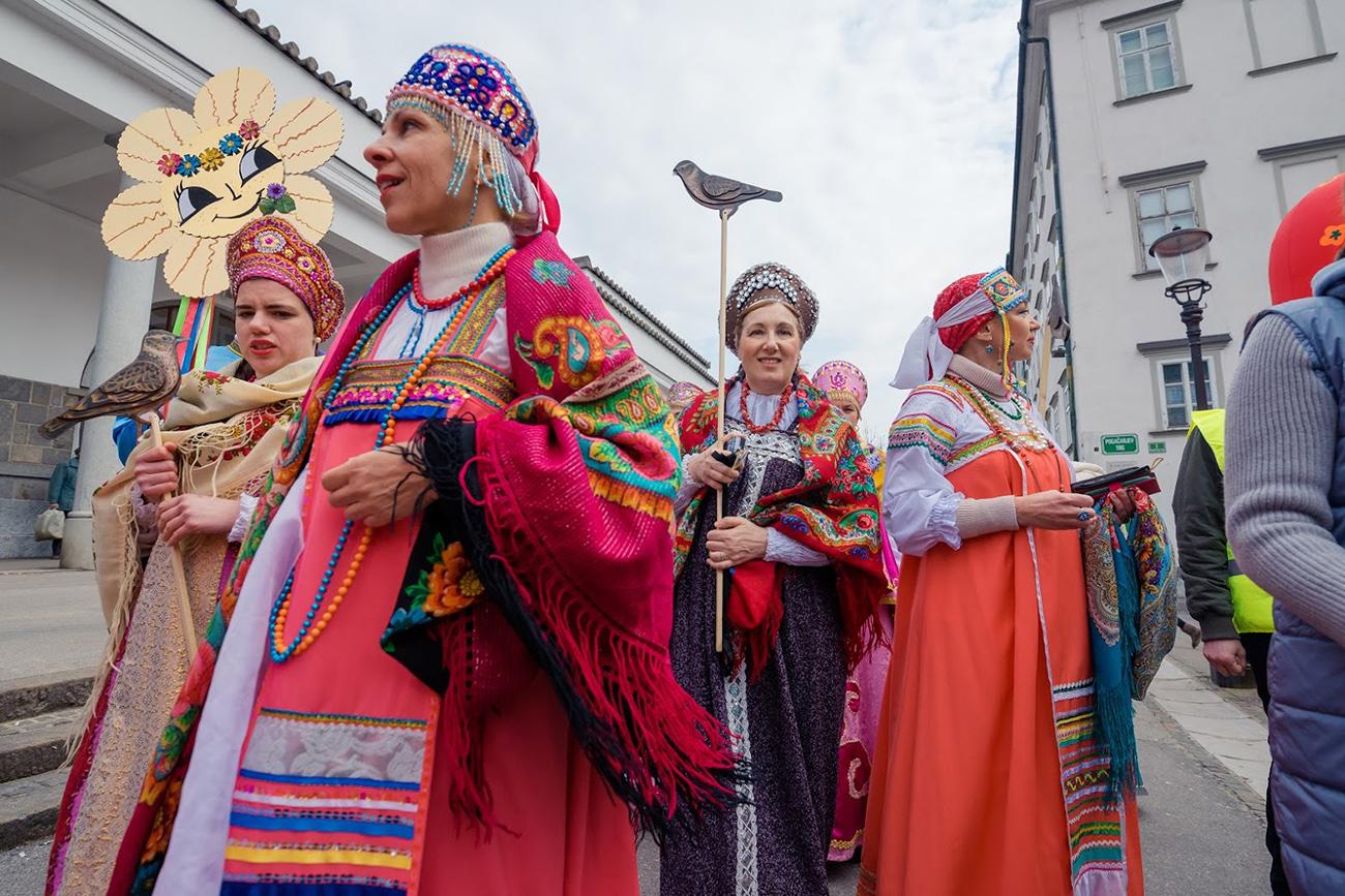 Praznovanje Maslenice v Ljubljani. Vir: Zavod Vesela dRuščina