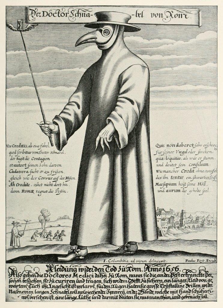""". """"Pestdoctor"""" je nosil za obrambo pred """"kužnimi hlapi"""" črne smrti – kuge – posebno kljunasto masko z različnimi zelišči in olji. Vir: wikipedia.org (CC0)"""