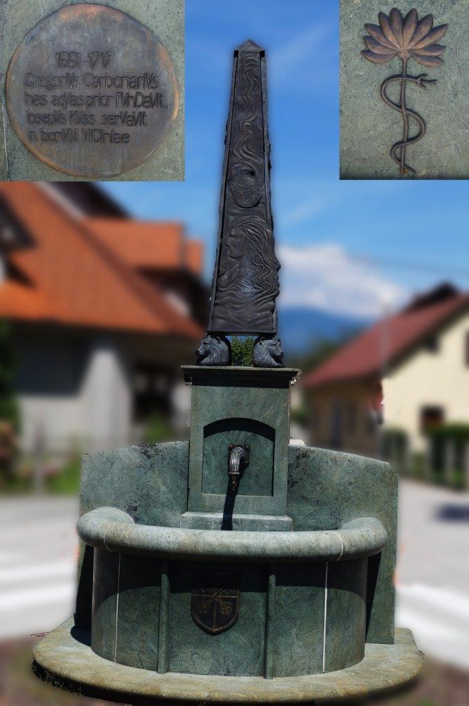 Vodnjak v Naklem, postavljen v spomin na znamenitega sovaščana. Foto: dr. Jurij Kurillo