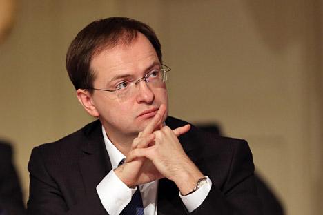 图中:俄罗斯文化部部长弗拉基米尔·梅金斯基。图片来源:塔斯社