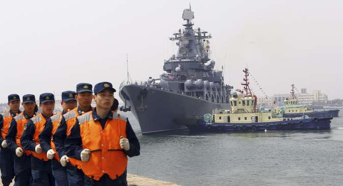 Chinese naval personnel at the 2015 Russia-China Joint Sea Drills.
