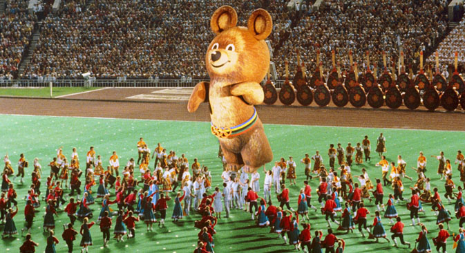 The symbol of the Moscow Olympics, Misha the bear, flew out with balloons into Moscow's night sky. Source: RIA Novosti